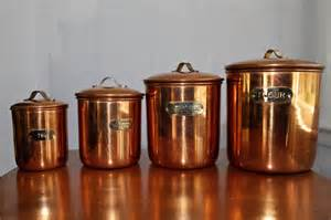 copper kitchen canisters mid century copper kitchen canisters set of 4