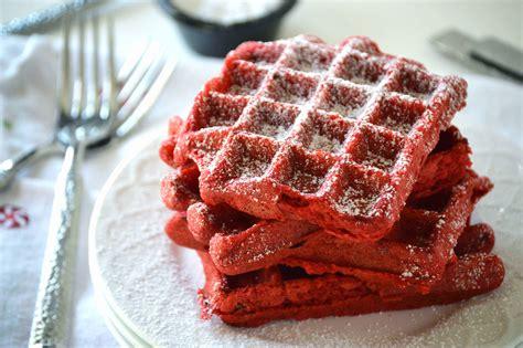 red velvet waffles   fork