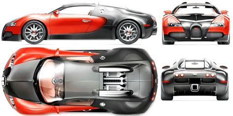 Bugatti Veyron Blueprint - Download free blueprint for 3D ...