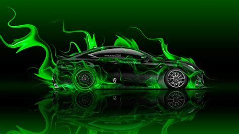 lexus rc  side super fire flame abstract car