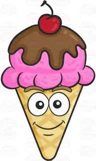 Cartoon Ice Cream Cone with Cherry