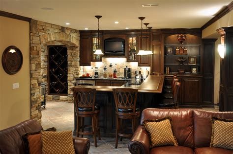 Nook Bar Design by Custom Bar And Wine Nook Traditional Basement
