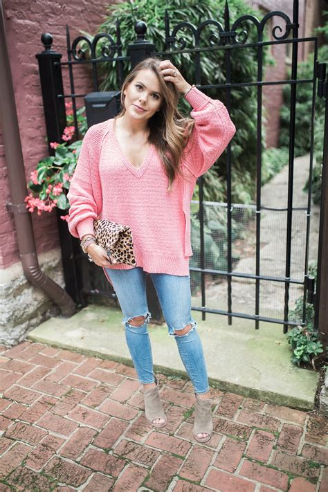 oversized pink sweater best labor day sales glitter gingham