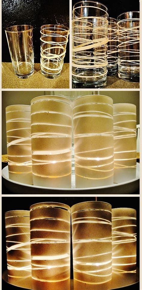 Rubber Band Candle Holders Use Glasses From Dollar Store Rubber Bands And Spray Paint To Make Beautiful Candle Holders by 59 Best Vellum Shade Stemware L Images On