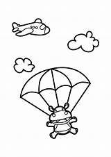 Skydiving Hippo Coloring Pages Nursery Cartoon Drawing Netart Animals Snoopy Church Animal Google Applique Indoor Print Tandem sketch template