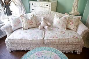 sofa shabby chic shabby chic sofa slipcover ed vintage chenille bedspread roses cottage vintage white pink aqua
