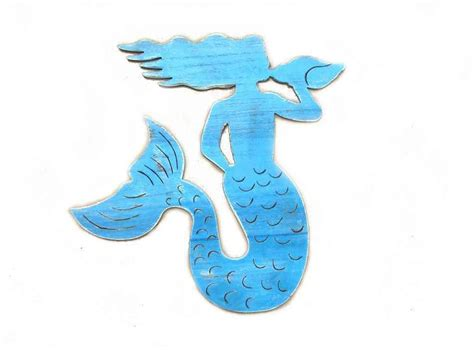 buy wooden rustic light blue wall mounted mermaid