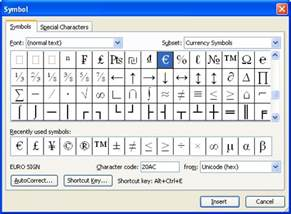 Microsoft Word Symbol Shortcuts
