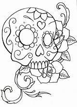 Skull Coloring Sugar Roses Simple Drawing Skulls Rose Owl Printable Easy Pdf Crossbones Teenagers Drawings Adults Candy Sheets Heart Getdrawings sketch template