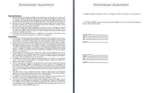 sponsorship agreement template sponsorship agreement template free agreement templates