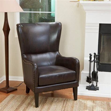 Buy Leather Armchair by Vintage Bonded Leather High Back Armchair In Brown Buy