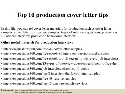 production internship cover letter top 10 production cover letter tips