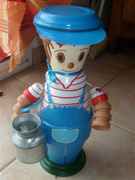 Fabrication Bonhomme En Pot De Terre personnage en pot de terre 183 tout en creativite avec mes