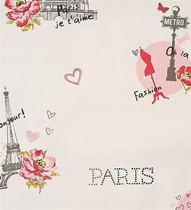 Papel pintado juvenil París Torre Eiffel coral y gris 2019458