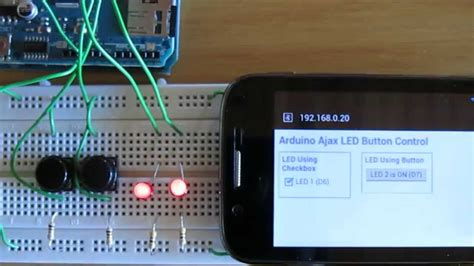 arduino web page led control using html button and
