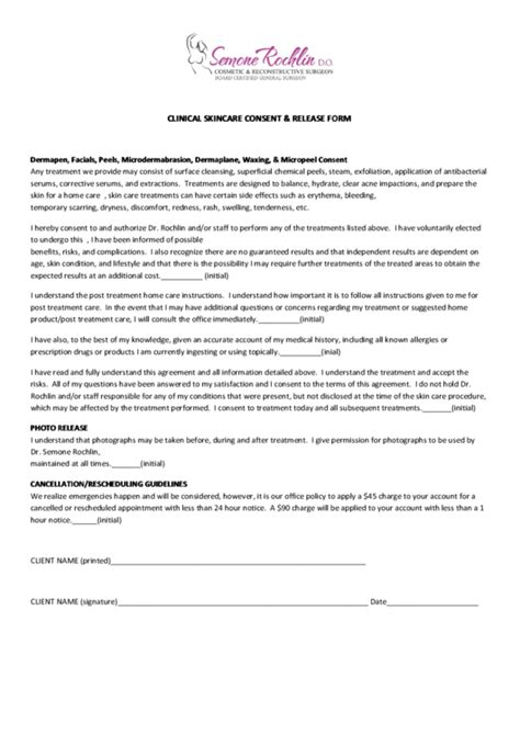 clinical skincare consent release form printable