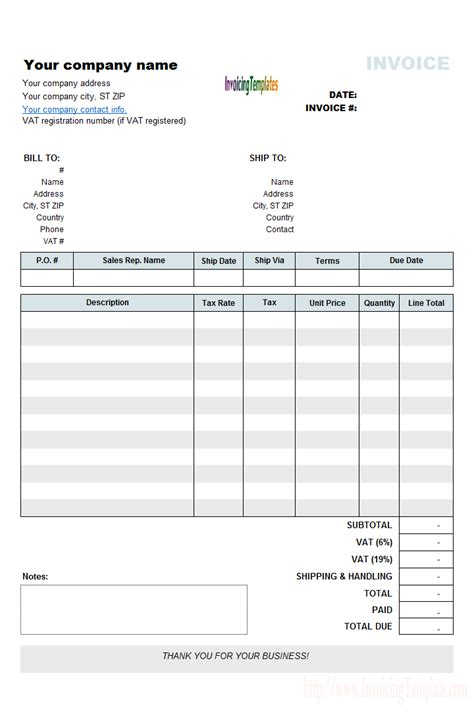 vat invoicing template  vat rate  amount column