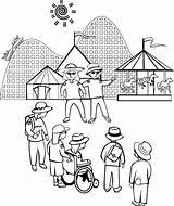 Park Amusement Coloring Pages Print Vacation sketch template