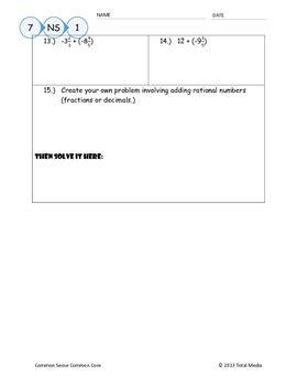 adding integers rational numbers worksheet by april