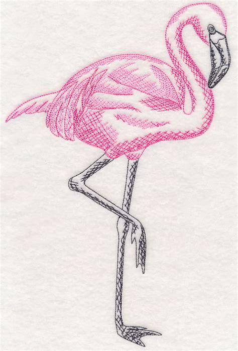 embroidery design tropical flamingo  sew