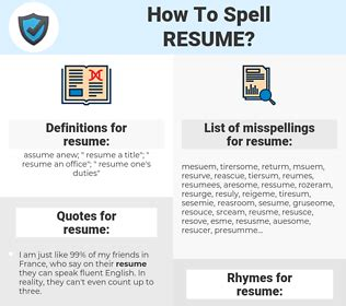 How Do You Spell Resume by How To Spell Resume And How To Misspell It