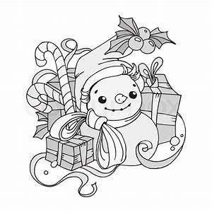 Weihnachtsmotive Schwarz Weiß : weihnachten schneemann schwarz und wei vektorgrafik colourbox ~ Buech-reservation.com Haus und Dekorationen