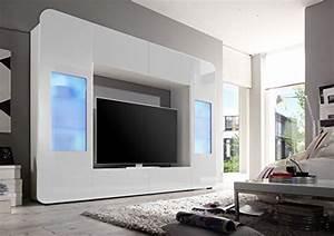 Wohnwand Weiß Günstig : wohnwand weiss hochglanz inkl led beleuchtung wohnwand ~ Eleganceandgraceweddings.com Haus und Dekorationen