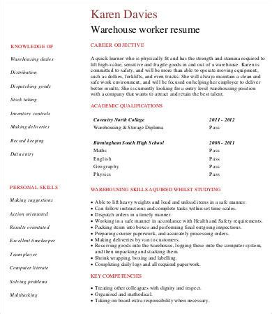 Warehouse Resume Template by Warehouse Worker Resume 7 Free Sle Exle Format