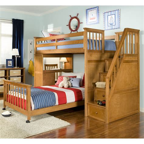 bunk bed designer light brown wooden bunk bed with drawers on the stairs combined with desk also red white plus