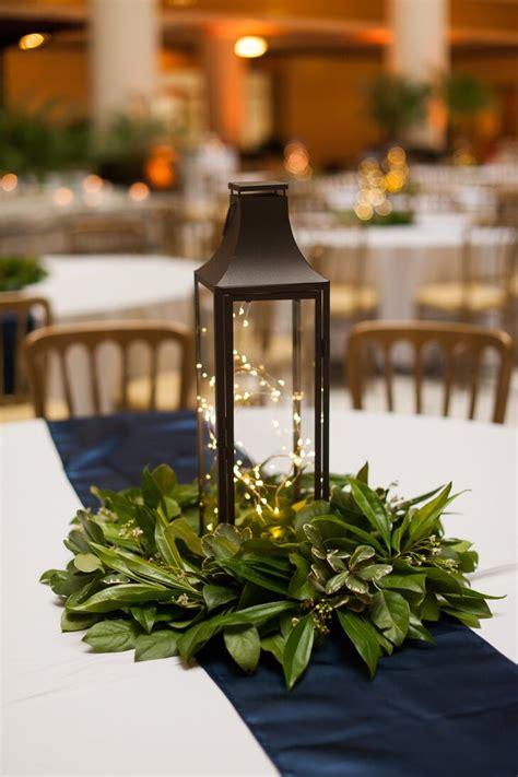 Lantern Centerpiece with Simple Greenery
