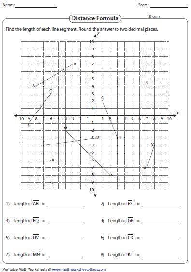 coordinate geometry distance formula worksheet worksheets