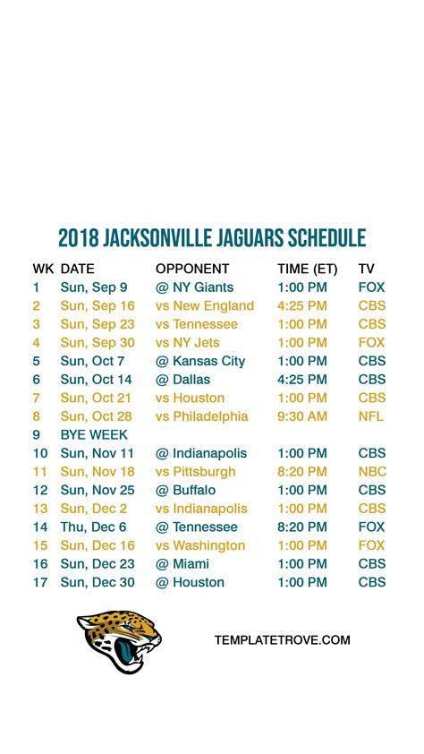 jacksonville jaguars lock screen schedule
