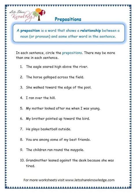 page  prepositions worksheet preposition worksheets