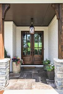 Double, Glass, Front, Doors, With, Rock, And, Rustic, Front, Porch