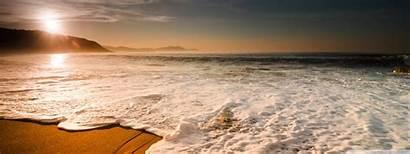 Beach Wave Waves Sunset Sea Dual Desktop
