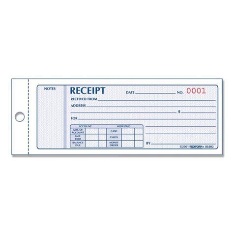 rediform money receipt collection forms quickship