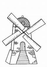 Windmills Coloring Mill Windmolens Flour Kleurplaten Template Kleurplaat Windmolen Van Zo sketch template