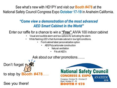 The 2016 National Safety Council Hd1py Will Be An Exhibitor At The 2016 National Safety