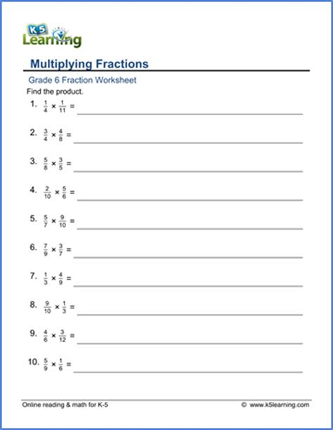 grade 6 math worksheets multiplying fractions denominators 2 12 k5 learning