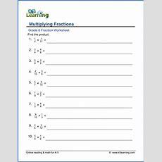 Grade 6 Math Worksheets Multiplying Fractions (denominators 212)  K5 Learning