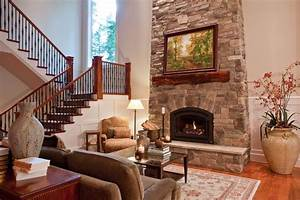Great Room Fireplace by Open Stairs - Family Room