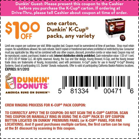 cuisine promotion dunkin donuts printable coupon july 2014 2017 2018
