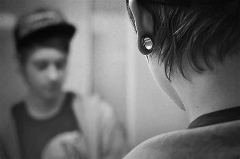 black and white boy cap gauges hair 54883 on favim