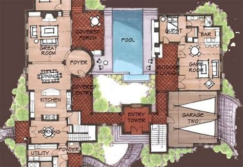 Mexican Hacienda Floor Plans, Hacienda Spanish Style Home
