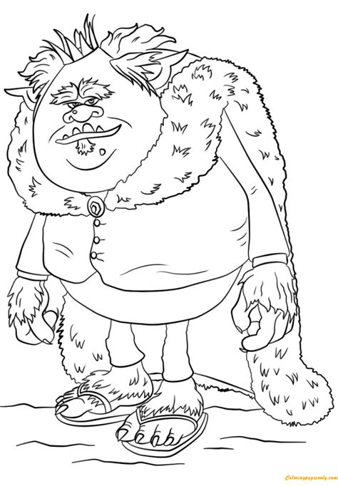 king gristle  trolls coloring page  coloring