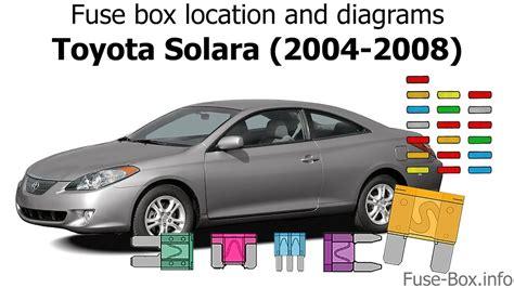 2008 Toyotum Solara Fuse Box Diagram by Fuse Box Location And Diagrams Toyota Solara 2004 2008