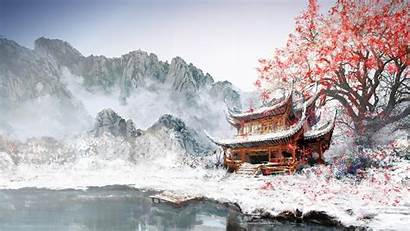 Temple Chinese Mountain Valley Snowy Landscape Mountains