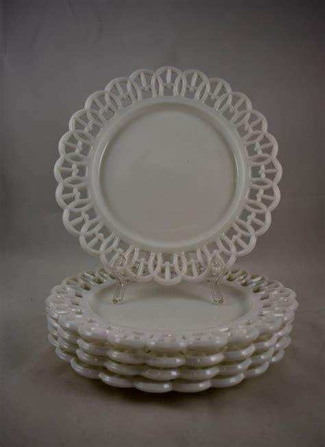 19th Century Eapg Lace Edge American Milk Glass 8 Plates
