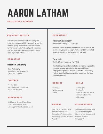 Lebenslauf In Tabellarischer Form by 29 Simple Clean And Minimal Resume Templates