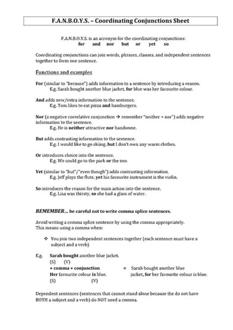 Fanboys Worksheet Free Worksheets Library  Download And Print Worksheets  Free On Compraren